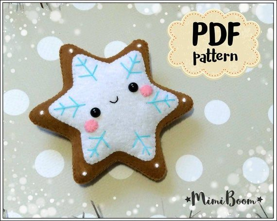Easy tutorial on how to make Gingerbread snowflake Christmas ornament from felt....
