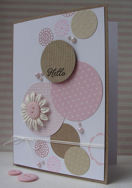 handmade card ... stream of circles bubbles up the page .. pinks and kraft on wh...