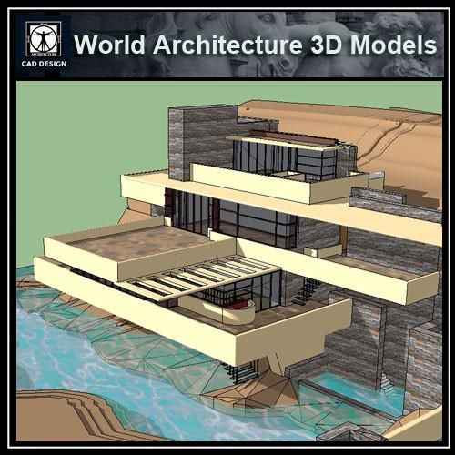 Sketchup 3D Architecture models- Fallingwater-Frank Lloyd Wright