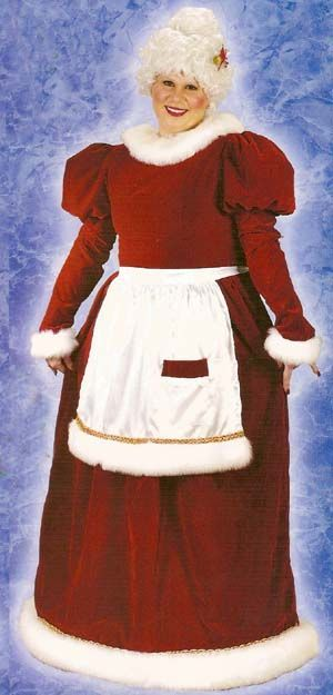 Red and White Mrs. Santa Claus Women Adult Christmas Costume - Plus Size