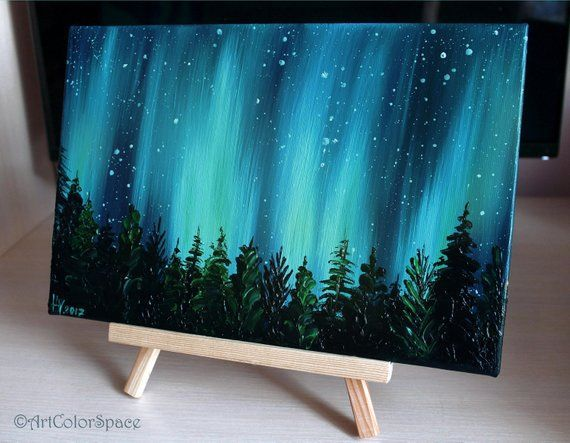 Small Galaxy painting Night sky Northern lights painting Landscape painting Aurora borealis O...