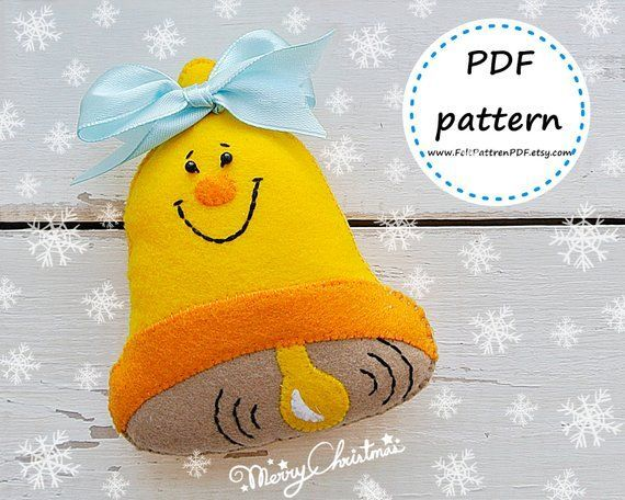 Christmas Bell patern, Felt ornament, Felt  Pattern, Felt Christmas Ornaments, C...