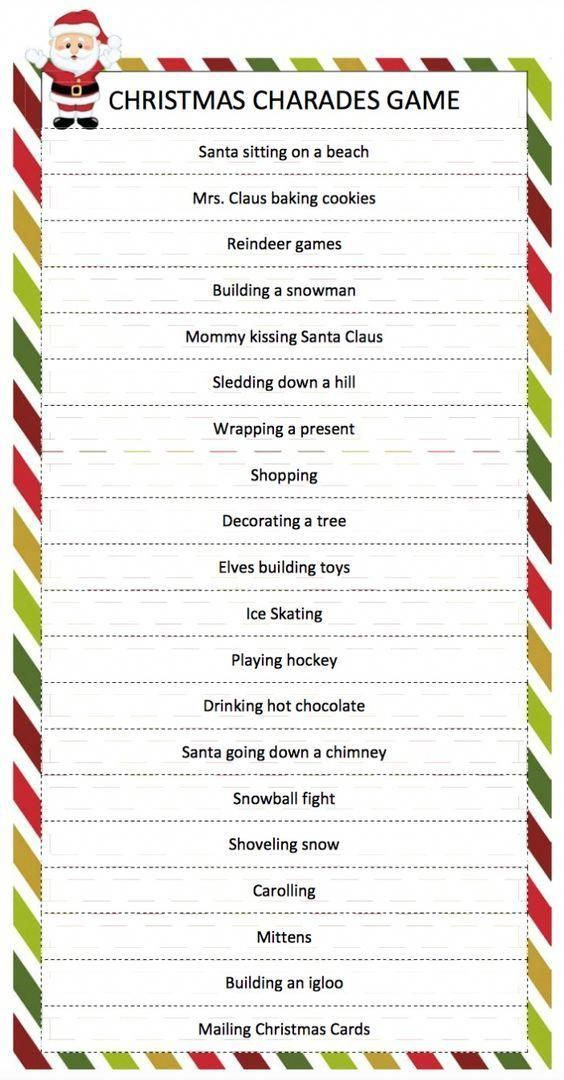 Christmas Charades Game - a free printable game for family fun perfect for your ...