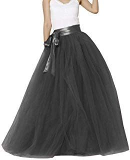Women Long Maxi Puffy 5 Layers Tulle Skirt Floor Length A Line with Bowknot Belt...
