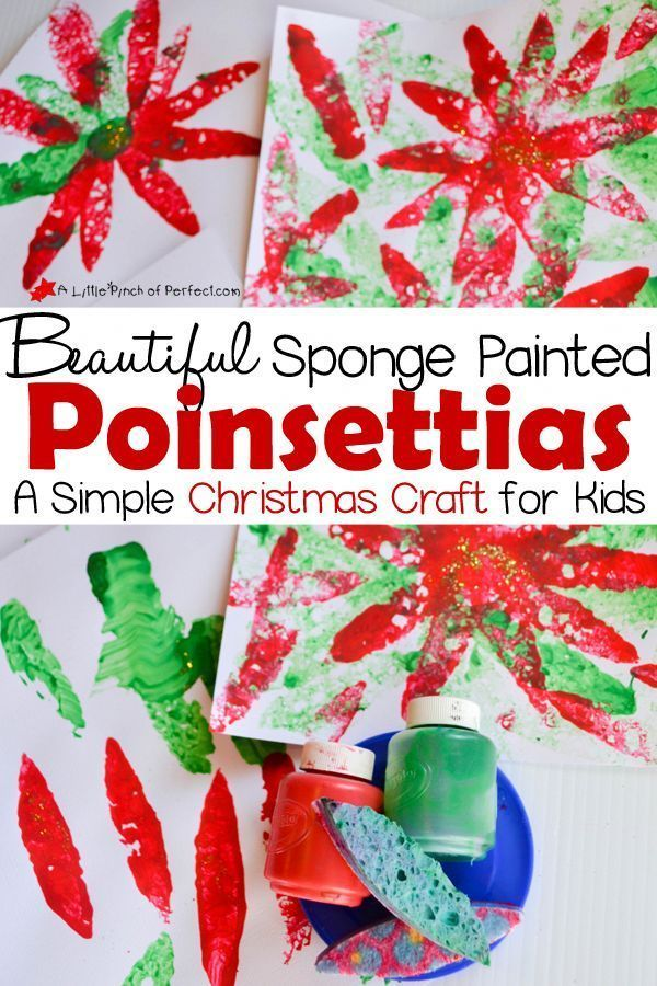 Beautiful sponge-painted poinsettias: a simple Christmas craft for children -