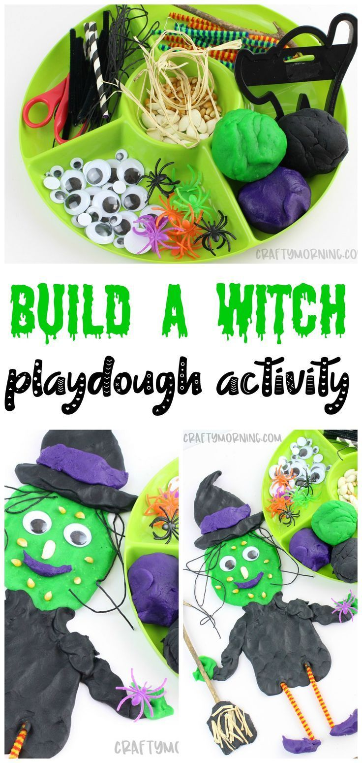 Make a fun build a witch playdough station for the kids! Fun playdoh halloween a...