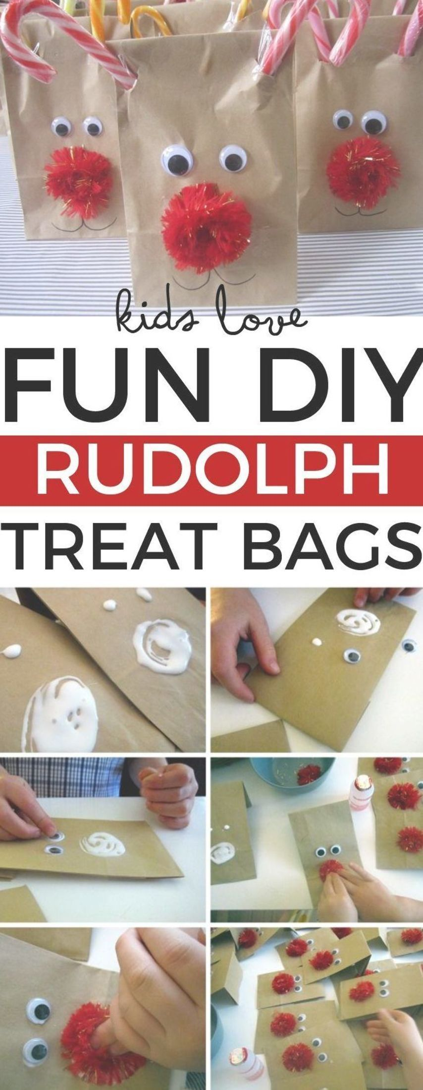 Kids love these fun DIY Rudolph treat bags. #Rudolf #Christmas #Christmascrafts ...
