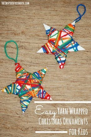 Christmas Crafts for Kids: Yarn Wrapped Ornaments