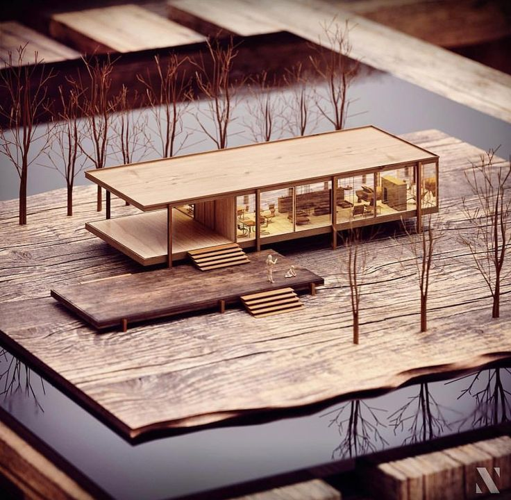 Farnsworth House - Mies Van Der Rohe ...... 3D model and visualization by Carla ...