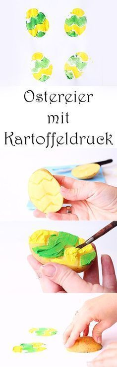Painting in Spring with Kids - Making Easter Eggs with Potato Print - Potato ...