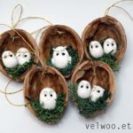 Owl Ornament Set - Rustic Christmas Decorations - Animal Ornament - Walnut Ornament - Nu ...