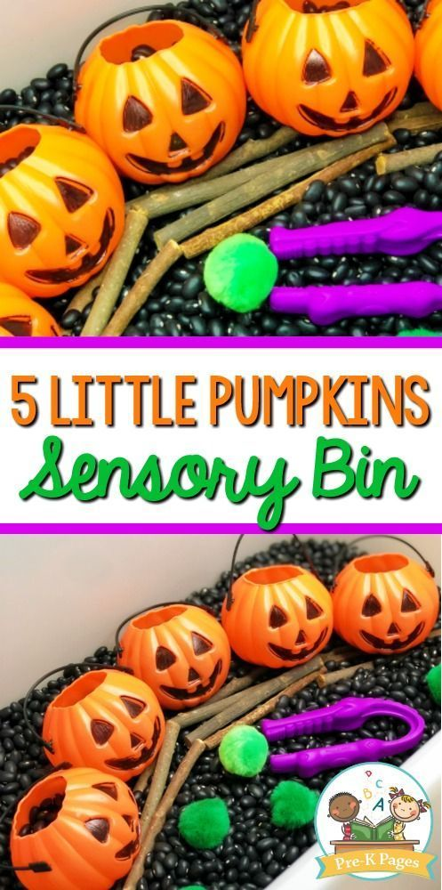 5 Little Pumpkins Halloween Sensory Bin. A fun, hands-on sensory play experience...