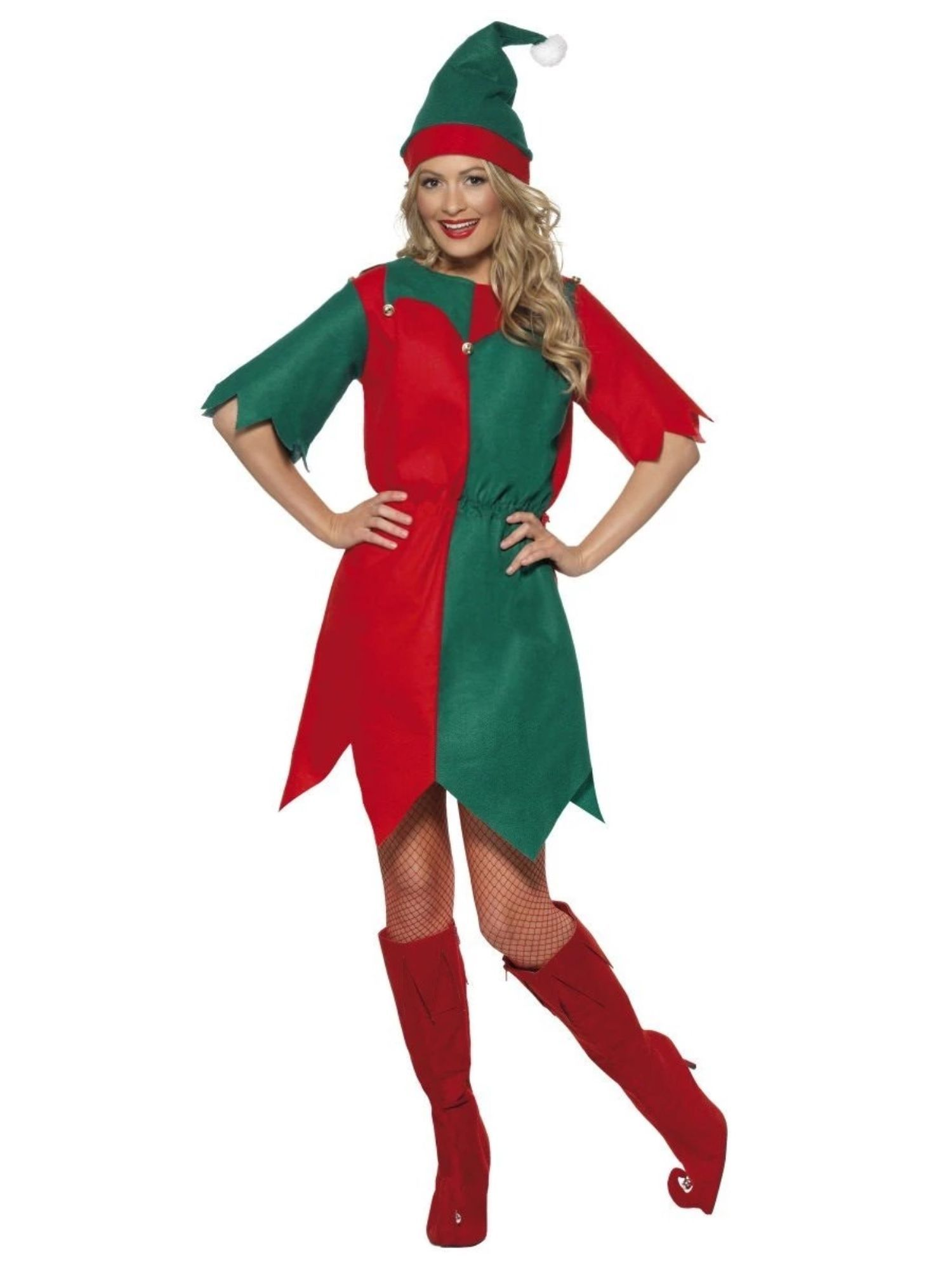 "42"" Red and Green Elf Women Adult Christmas Costume - Medium"