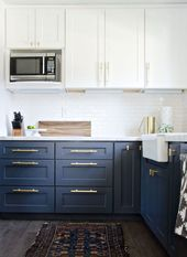 Navy + Brass Modern Kitchen Remodel - #Brass #euro #Kitchen #Modern #Navy #Remod
