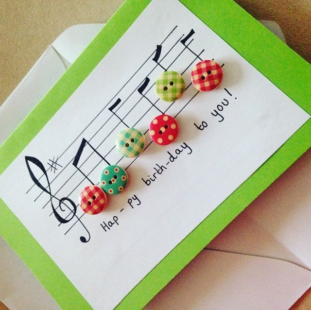 Music happy birthday buttons handmade greetings card notes birthday card