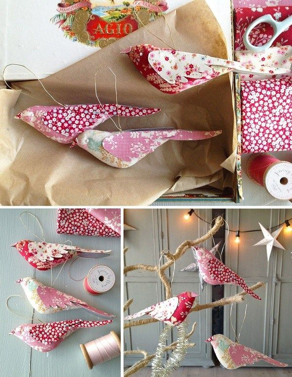 The fabric birds would be lovely perched on your Christmas tree! The Tilda stu...