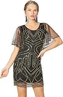 Metme 20's Great Gatsby Inspired Sequins Dress Round Neck Batwing Cape Party Dre...