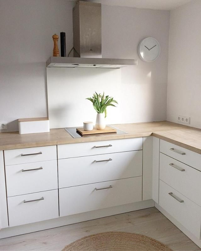 # kitchen # white kitchen # white # gray # gray wall # clock