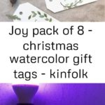 Joy pack of 8 - christmas watercolor gift tags - kinfolk christmas - minimalist christmas - g...