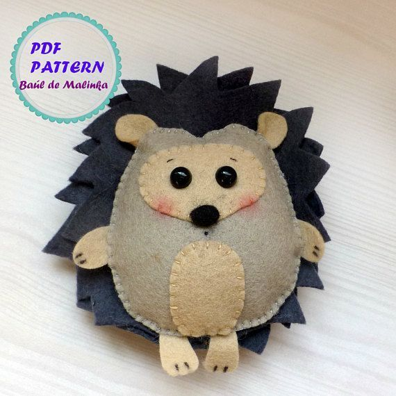 Felt hedgehog forest animal ornaments pattern PDF sewing simple pattern Felt forest animal ornaments baby m ...