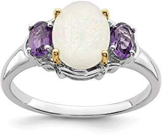 925 Sterling Silver 14k Opal Purple Amethyst Band Ring Stone Gemstone Fine Jewel...