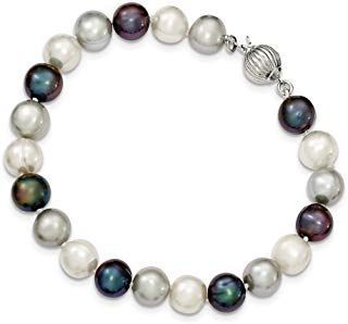 925 Sterling Silver 9mm Freshwater Cultured White/platinum/black Pearl Bracelet ...