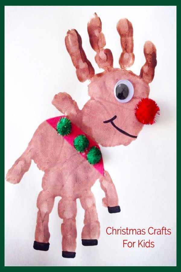 DIY Christmas Crafting and Craft Projects for Kids - Handprint Reindeer Finger ...