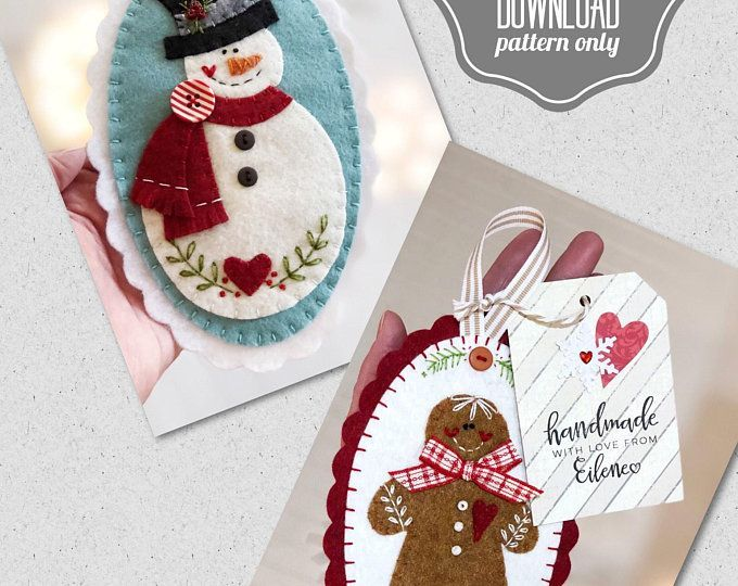 PATTERN Felt snowman and Gingerbread Christmas ornament, christmas tree decorations diy
