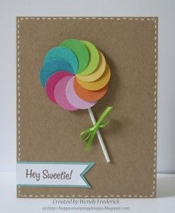 Handmade card. What an adorable use of a circle punch! Paint chips would be grea...