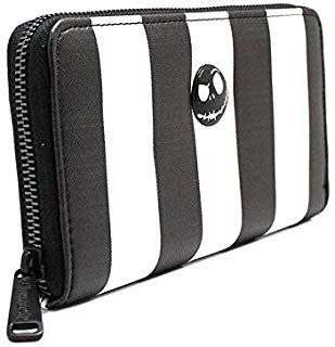 Loungefly Nightmare Before Christmas Women's Striped Zip-Around Wallet >>> Visit...