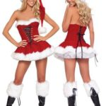 Sexy Santa Claus Costume Women Off shoulder Red Mini Dresses 2016 Bandage Short Skirt Christm...
