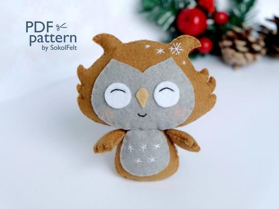 Felt owl sewing PDF pattern, Felt owl ornament, Felt woodland animal pattern, Fe...
