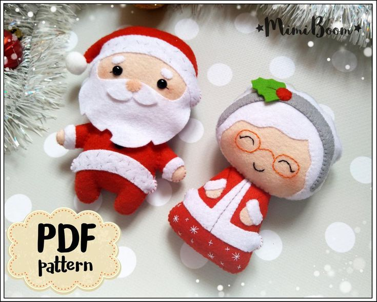 Christmas pattern felt Santa Claus and Mrs Claus pattern PDF | Etsy