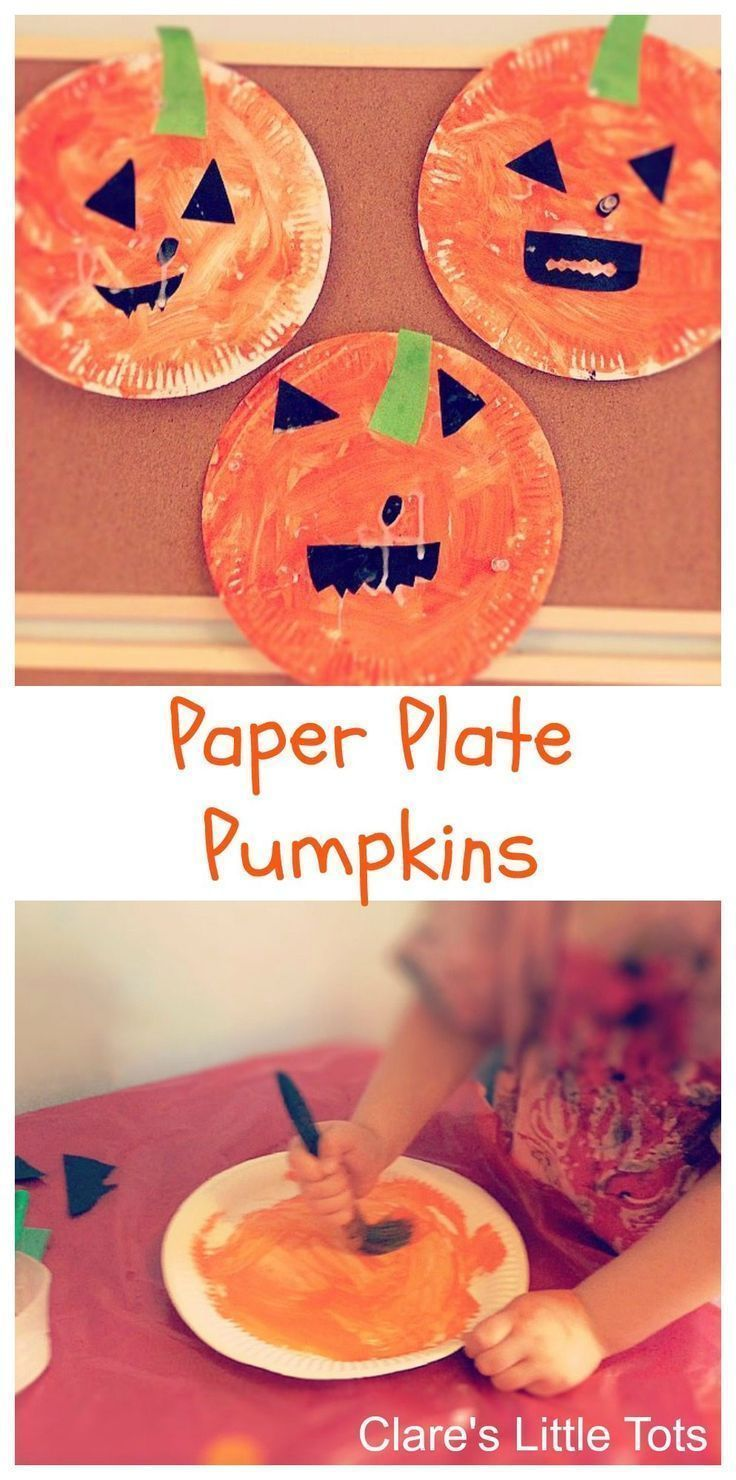 Paper plate pumpkins easy Halloween craft idea for toddlers and preschoolers. #a...