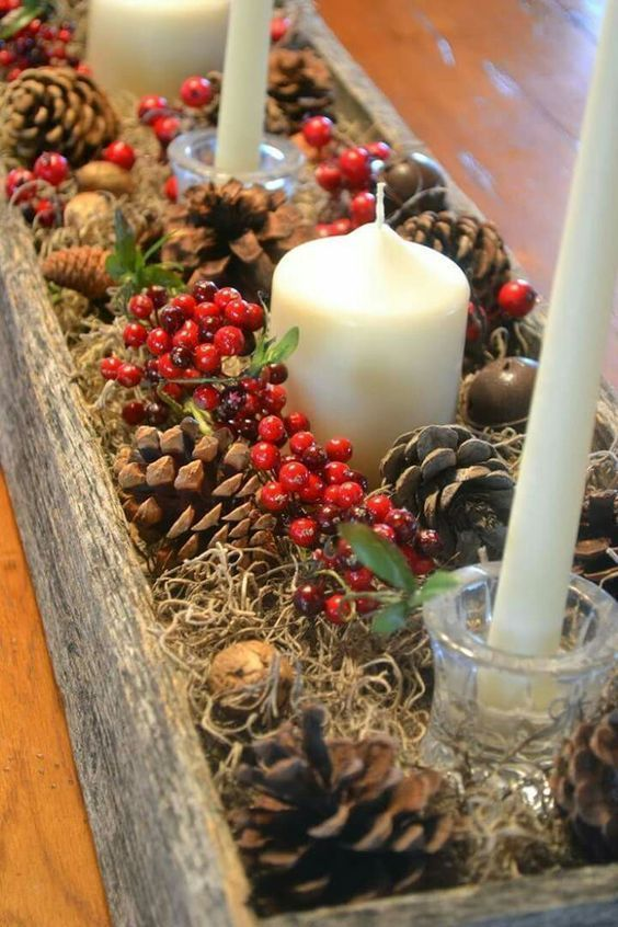 70+ Simple And Popular Christmas Decorations; Table Decorations; Christmas Candl...
