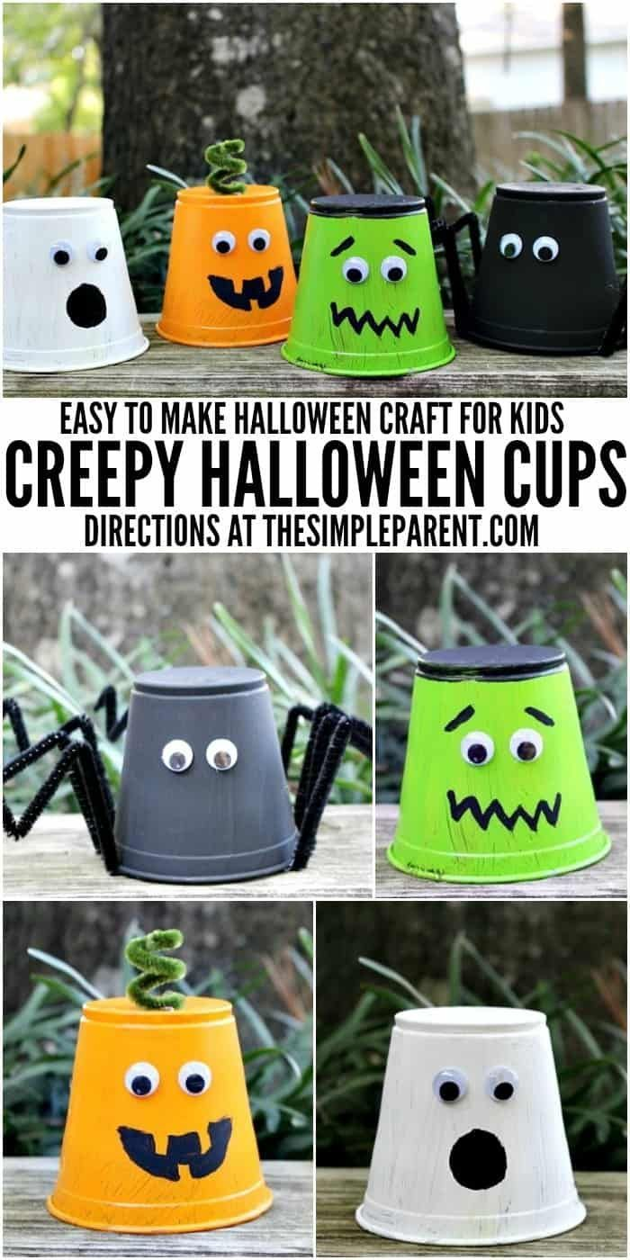 We love kids Halloween craft projects! These Halloween themed cups are easy to m...