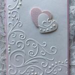 Greeting cards handmade; Set of 2 love cards, love notes, valentines, pink and white, embossed hearts, anniversary, wedding