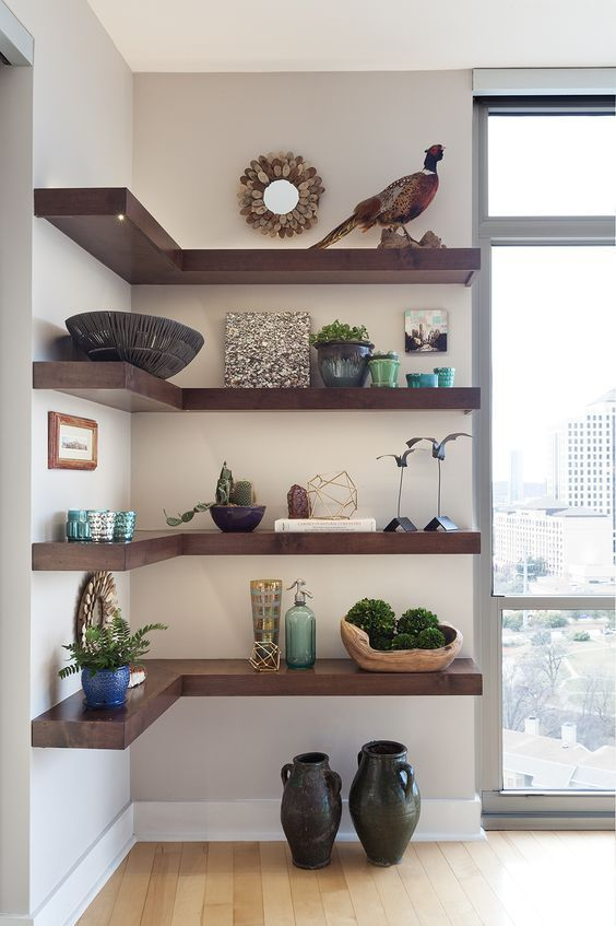 Living room shelf storage ideas, shelf decor living room; floating shelves ...