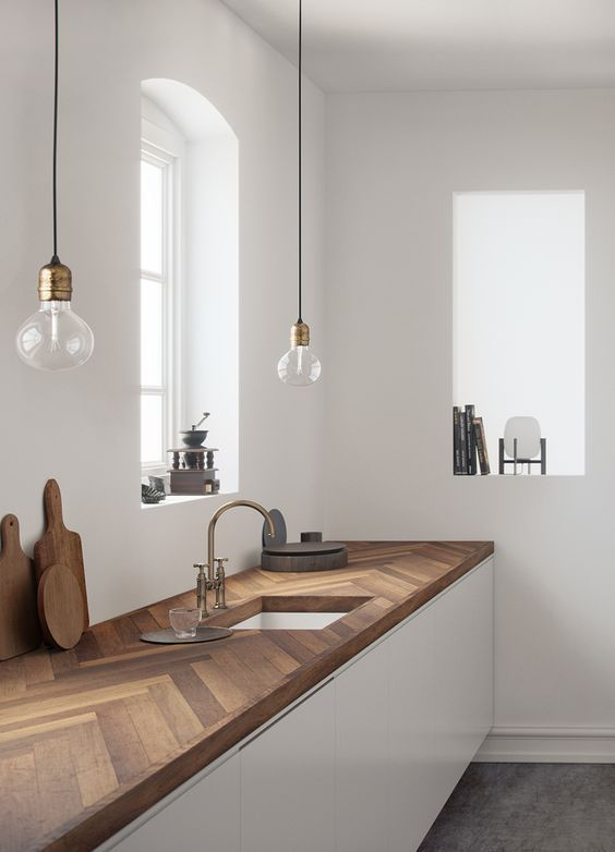 Kitchen with plan and hike to Plancher Ancien. Cuisine au desig - New Ideas living room and kitchen #woodworking - wood working