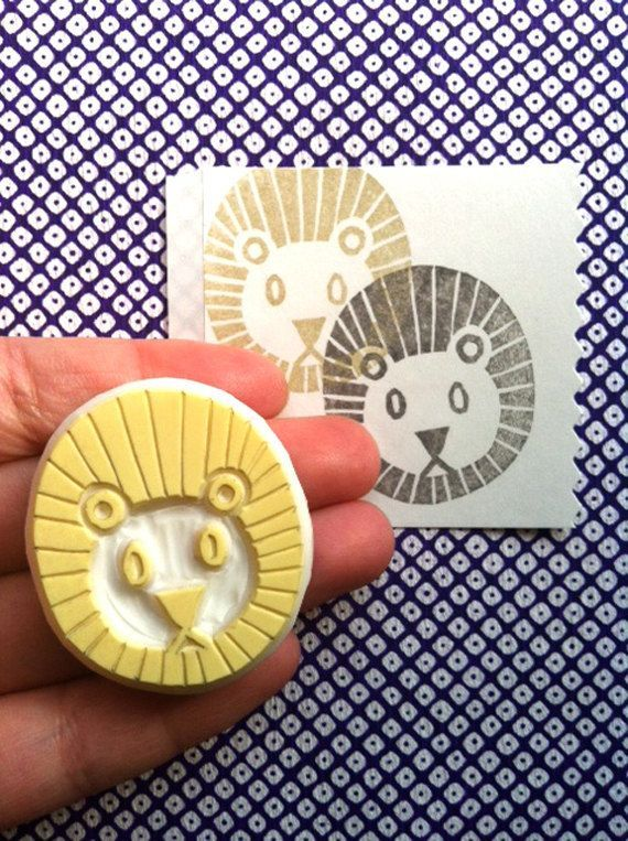 lion rubber stamp | safari animal stamp | savanna animal stamp | hand carved stamp for diy, card making, fabric printing | gift for kids