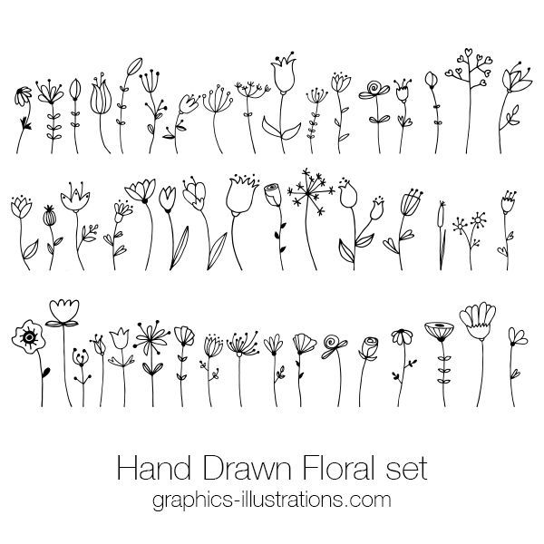 Hand Drawn Floral Doodle Clip Art Set, Hand Drawn Retro Design Vectors