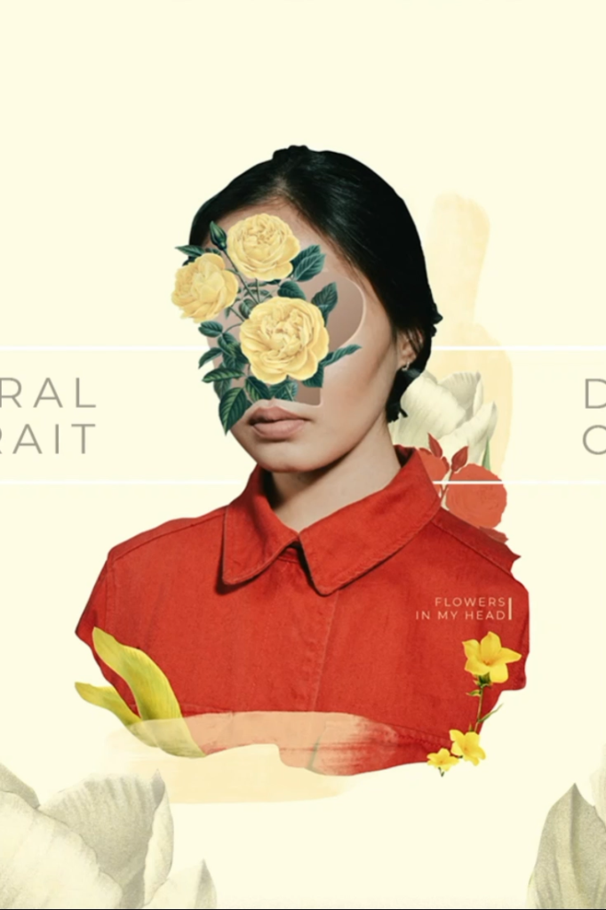 Skillshare classes collage art: Learn how to make a floral digital collage Portrait