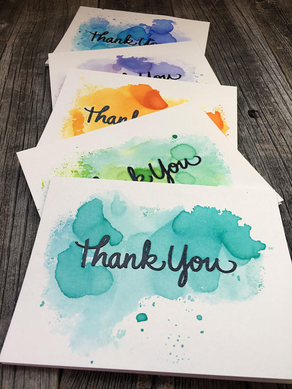 Set of 5 watercolor thank you cards, handmade thank you cards set, blank thank you cards set