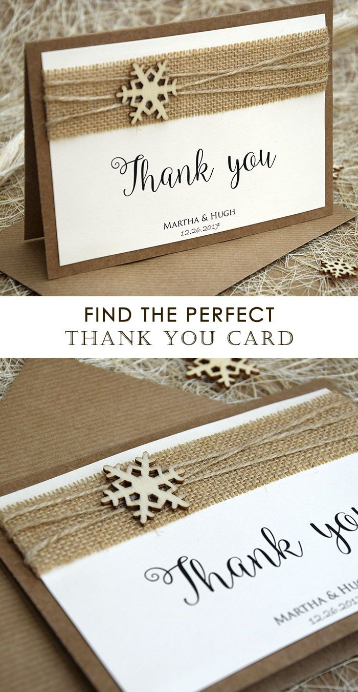 Snowflake Winter Thank You Cards, Rustic Folded Thank You Cards