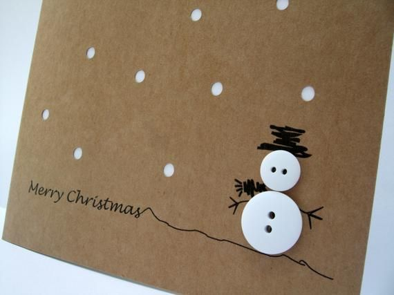 Christmas Card - Snowman Button with Paper Cut Snow - Paper Handmade Greeting Card - Christmas Card -