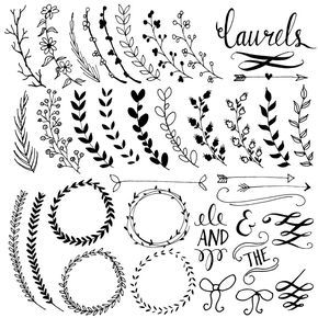 Artículos similares a Laurel Wreath Clipart Frames, Digital Wreath Clip Art, Chalkboard Leaves + Laurel Frames, Branch Clip Art, Floral Clipart Frame, PNG, Vector en Etsy