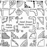 CLIP ART: Cute Picture Corners // Hand drawn Bespoke // Whimsical // Photoshop Brushes // Photo Overlay // Vector PNG file // Commercial Use