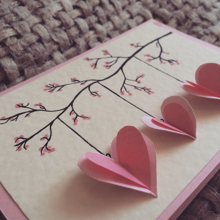 Quilled hanging hearts, handmade mother's day card, hearts hanging on a branch, Valentine's Day
