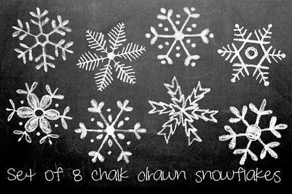 Chalkboard Hand Drawn Snowflakes Clipart, Photoshop Brushes and Stamps. Download. Personal and Limited Commercial Use.