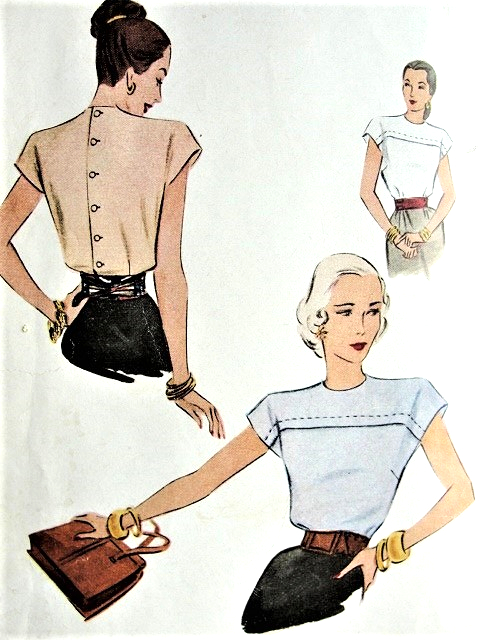 1940s LOVELY Blouse Pattern McCALL 6749 Button Back Blouse Perfect Suit Blouse Bust 34 Vintage Sewing Pattern